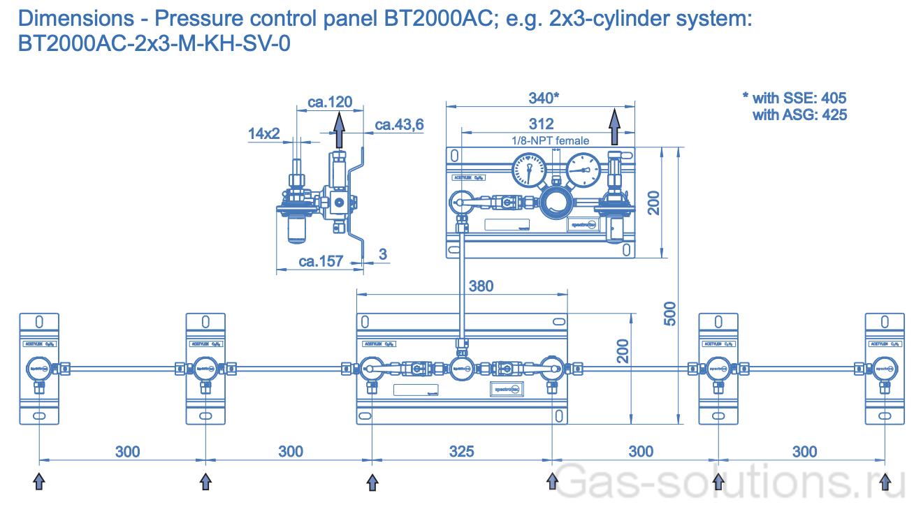 Газовая рампа Spectron серия BT2000 AC для ацетилена (1,5 бар), двуплечевая, схема
