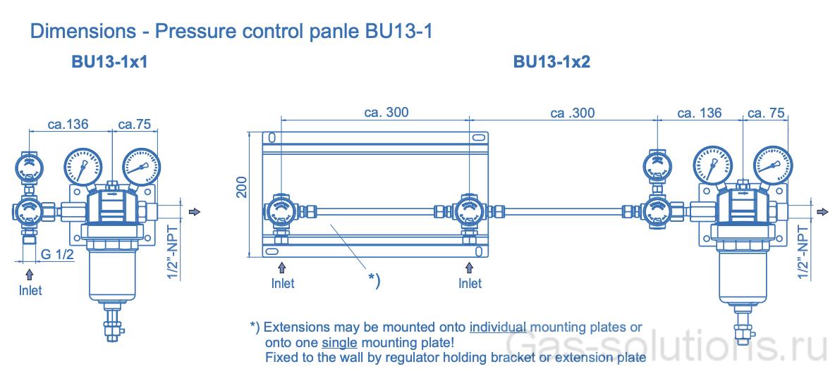 Газовая рампа Spectron серия BU13-1:-2, чертеж1