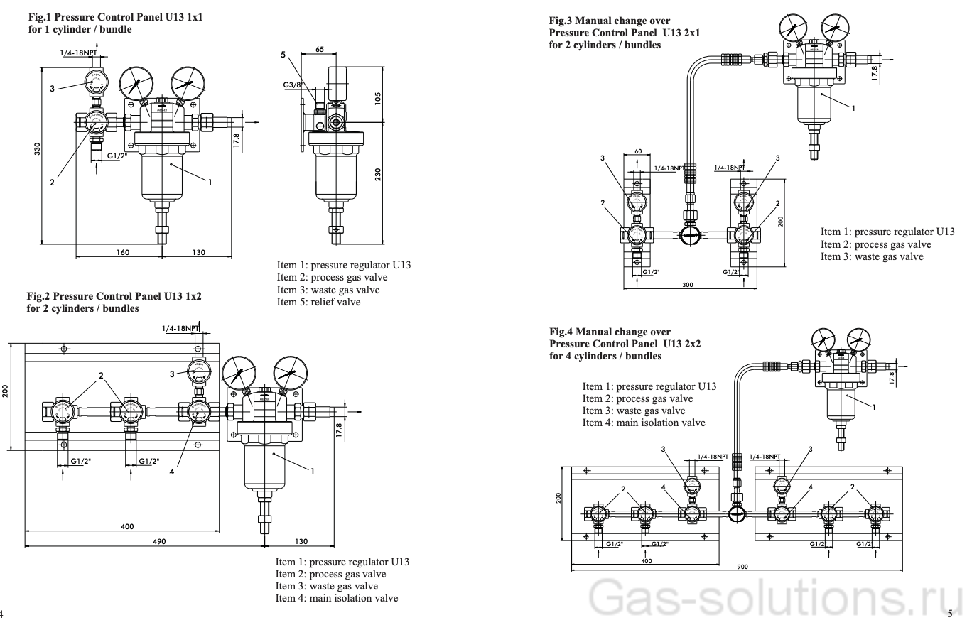 Газовая рампа Spectron серия BU13-1:-2, типы и чертежи
