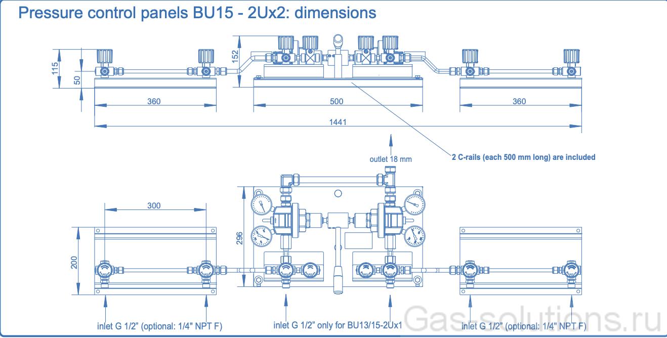 Газовая рампа Spectron серия BU13&15-2U , чертеж