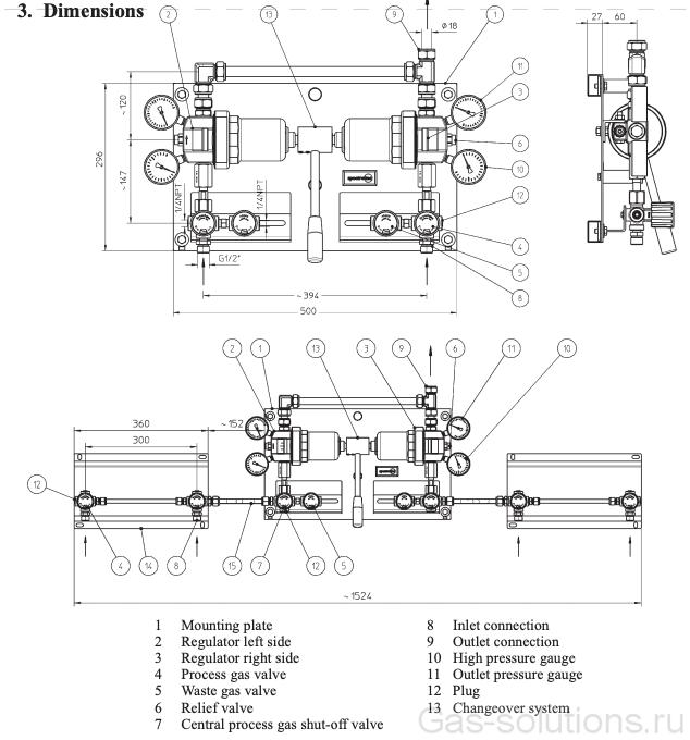 Газовая рампа Spectron серия BU13&15-2U , чертеж1