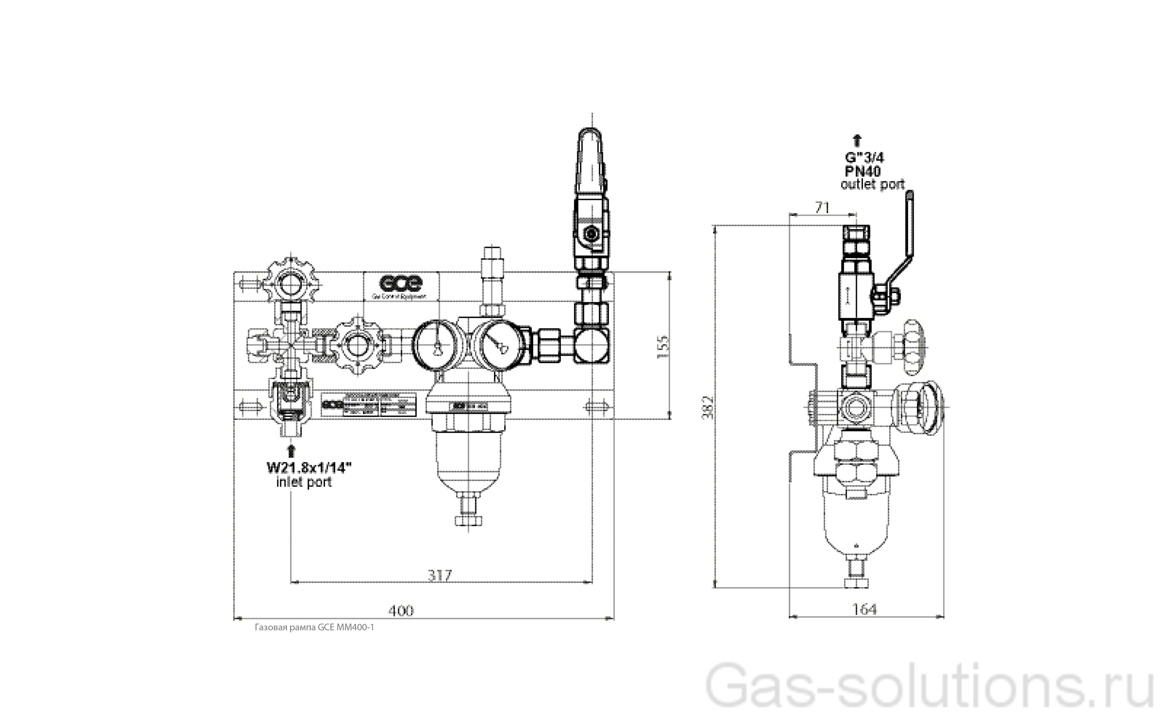 Газовая рампа GCE MM400-1_чертеж