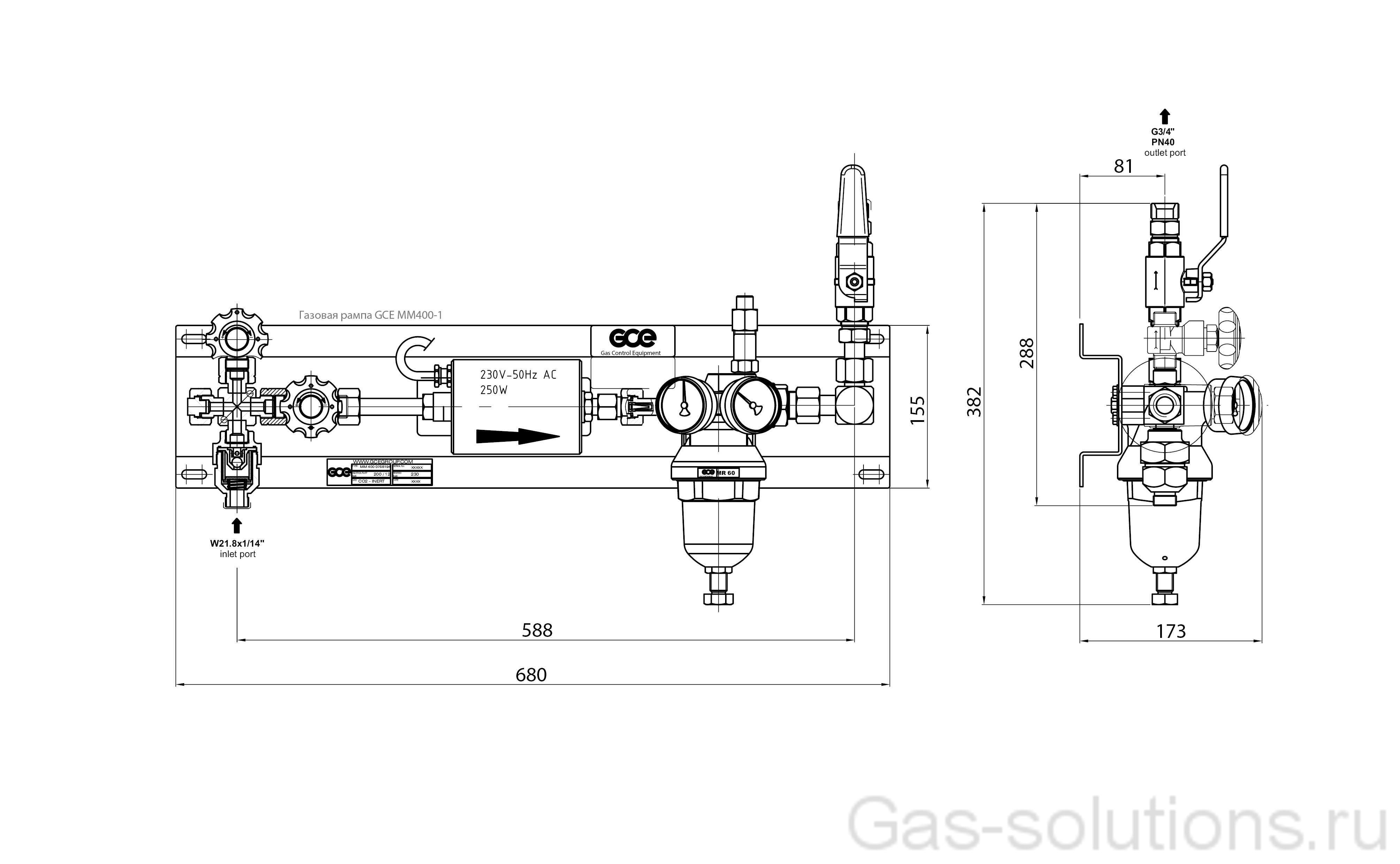 Газовая рампа GCE MM400-1 с подогревателем _чертеж