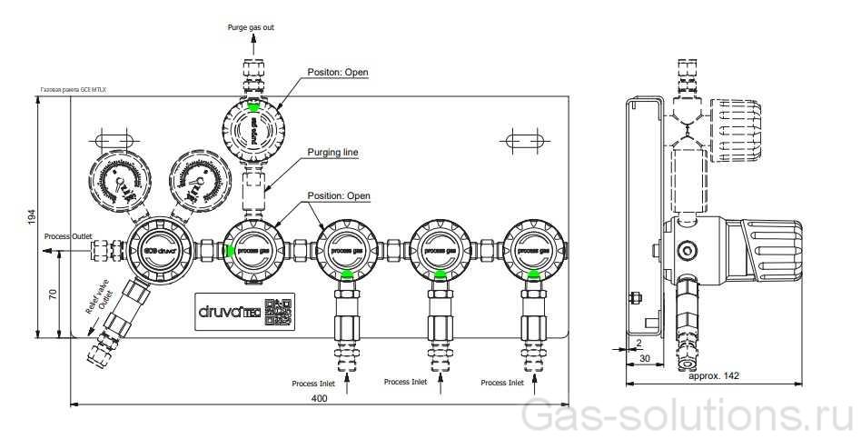 Газовая рампа GCE MTLX_чертеж с блоками