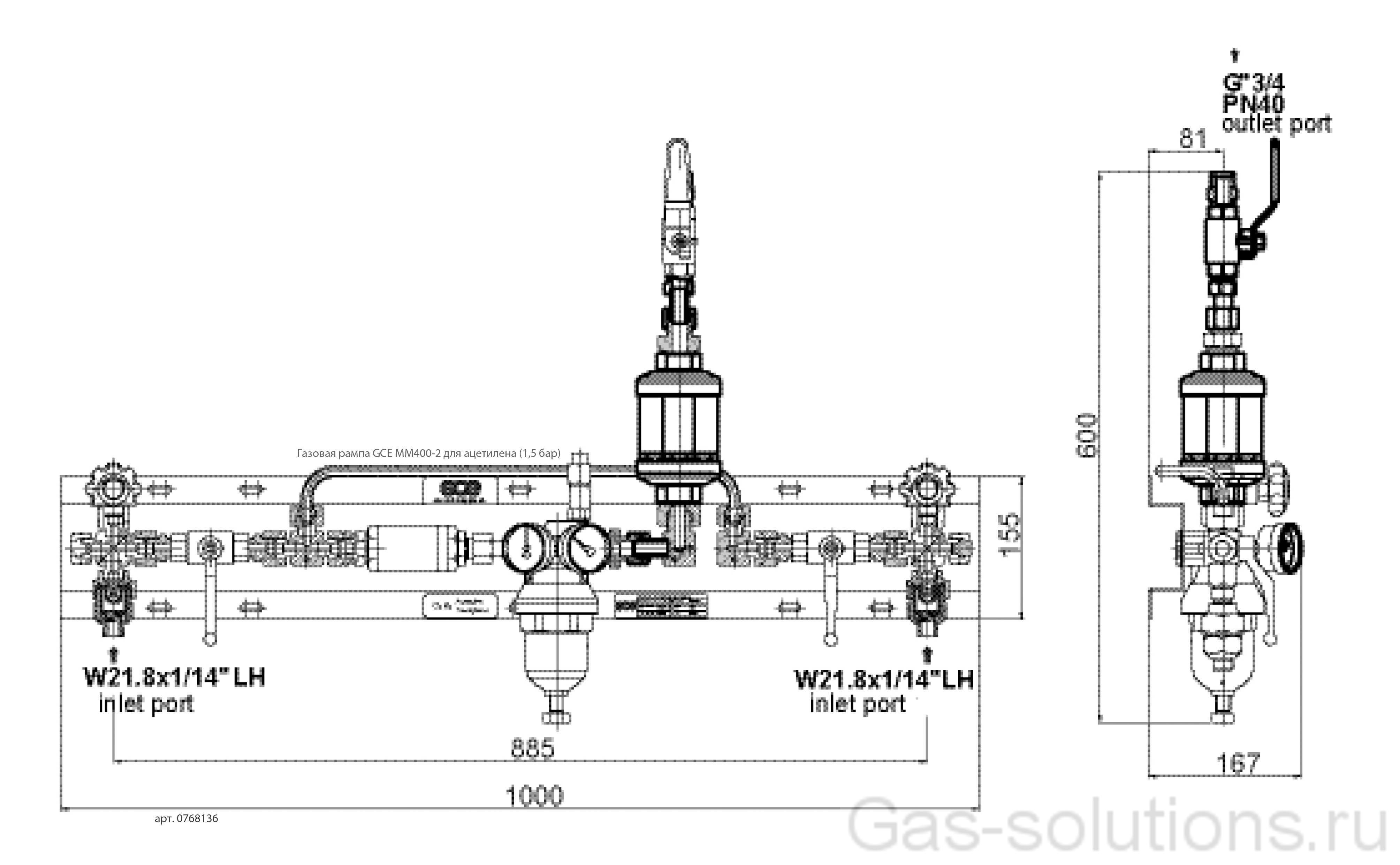 Газовая рампа GCE MM400-2 для ацетилена (1,5 бар)_чертеж