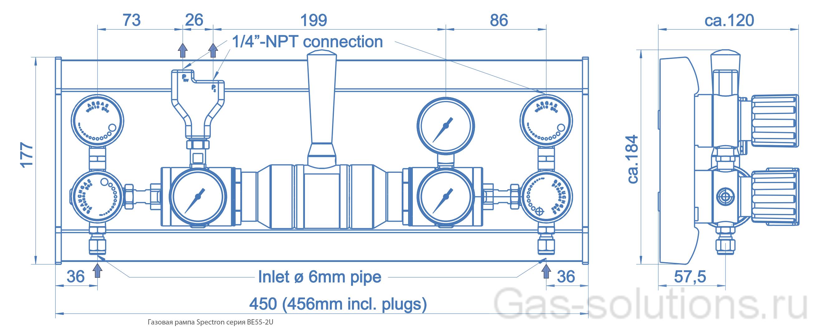 Газовая рампа Spectron серия BE55-2U_чертеж