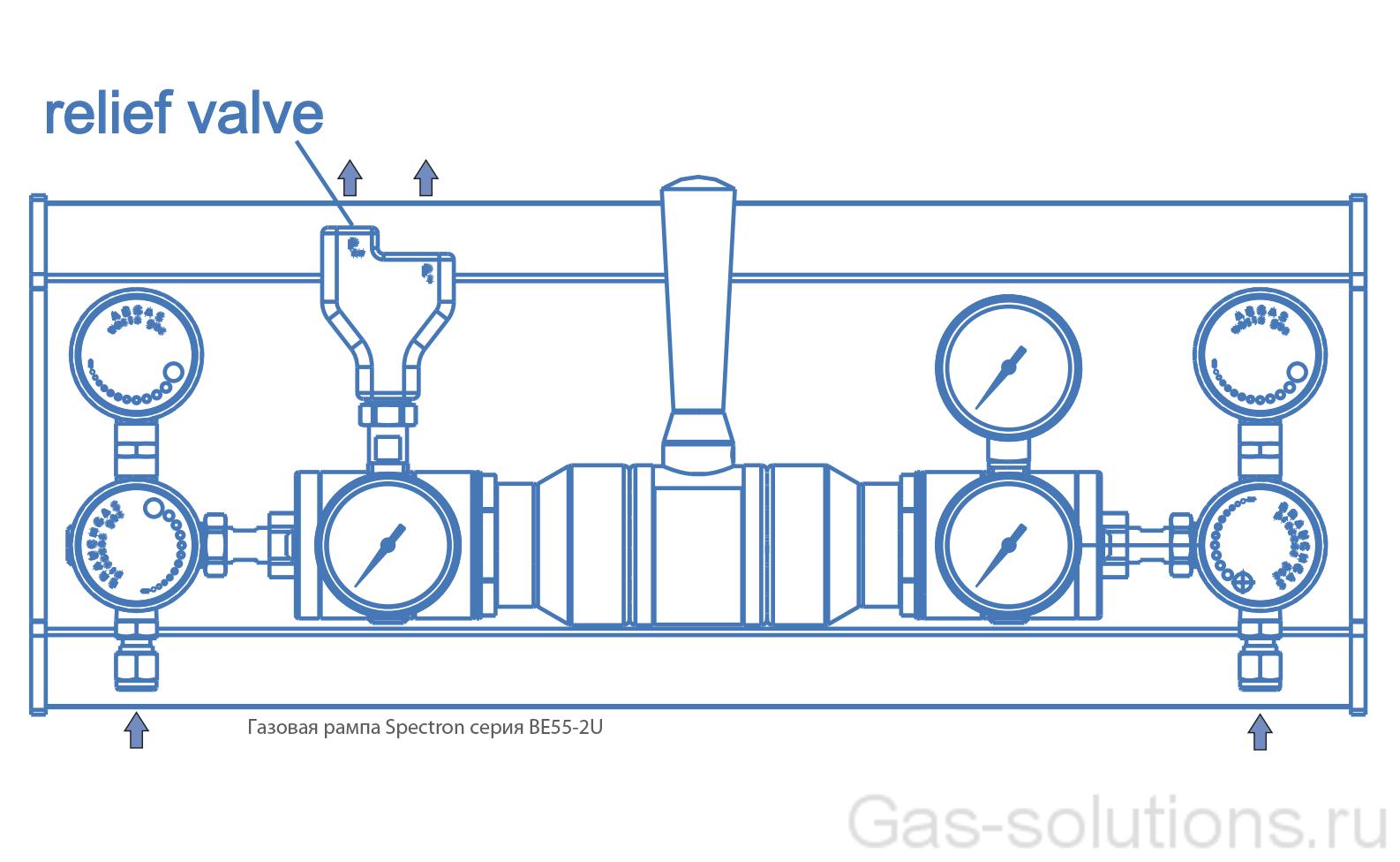 Газовая рампа Spectron серия BE55-2U_чертеж1