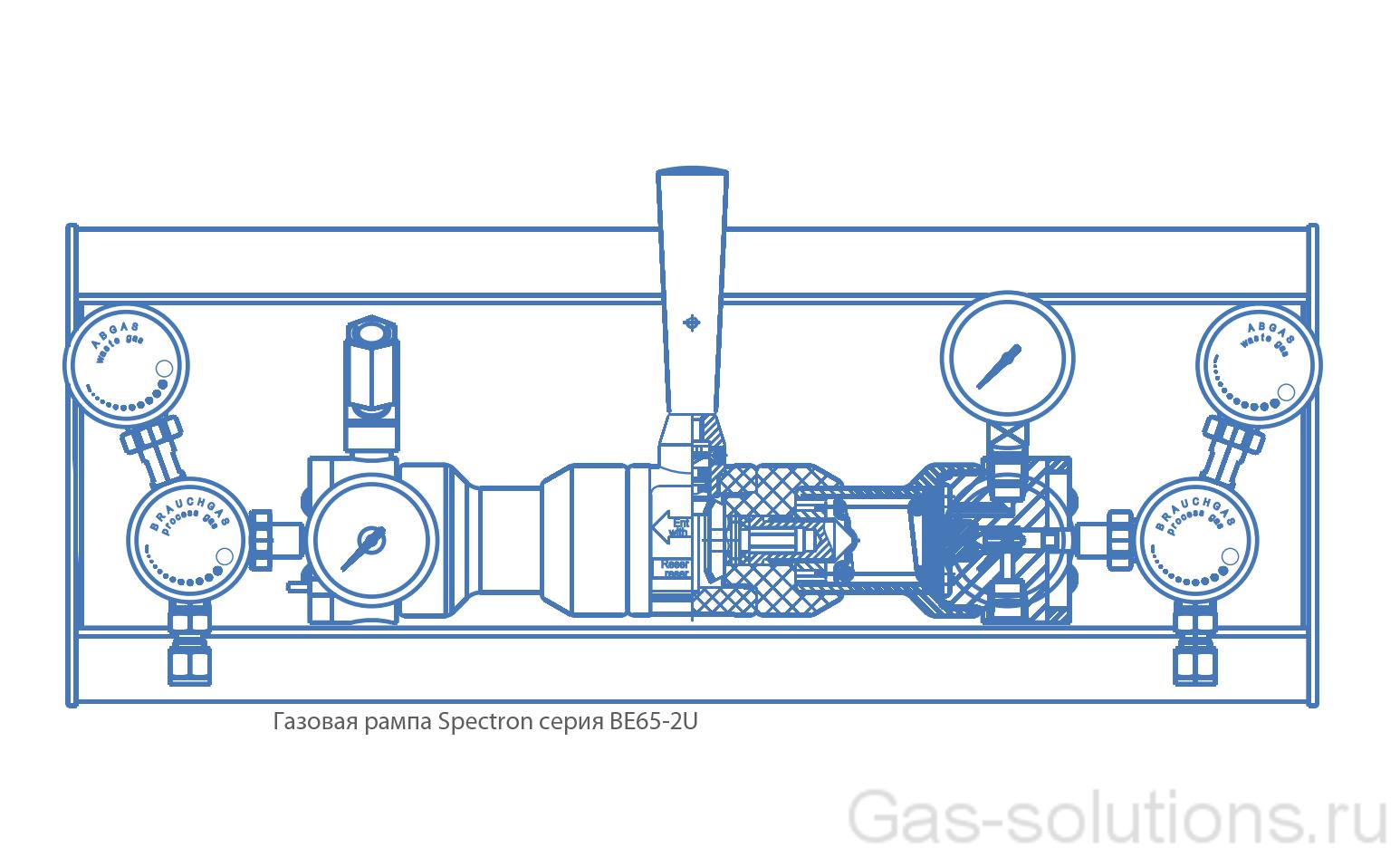 Газовая рампа Spectron серия BE65-2U_чертеж1