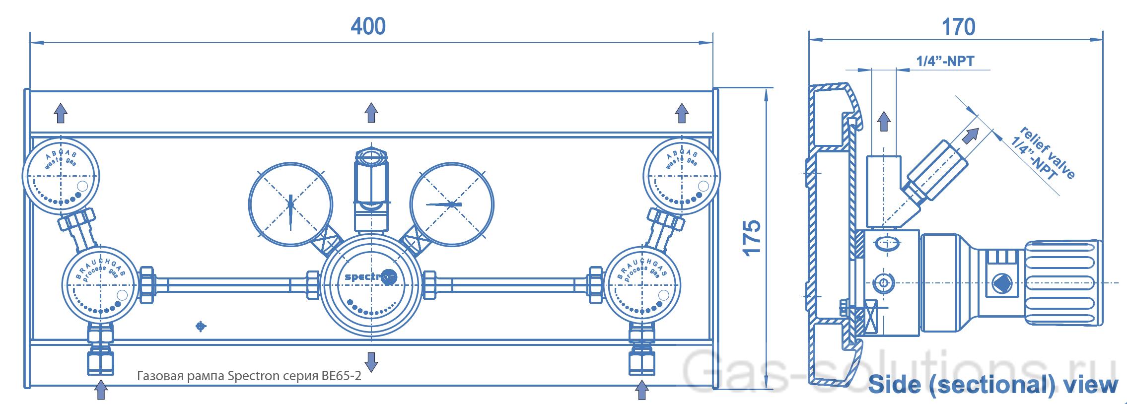 Газовая рампа Spectron серия BE65-2_чертеж