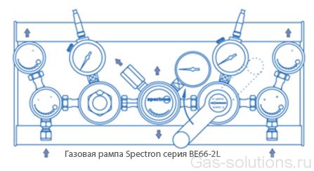 Газовая рампа Spectron серия BE66-2L_чертеж