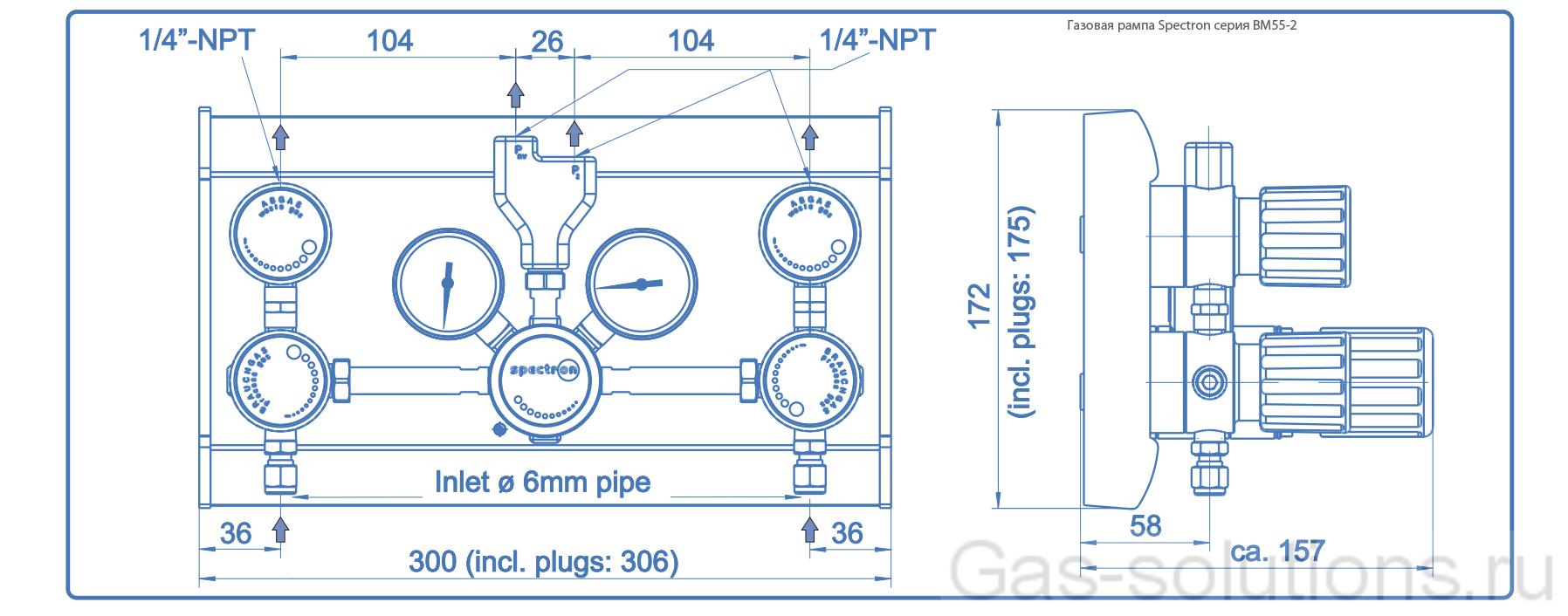 Газовая рампа Spectron серия BM55-2_чертеж