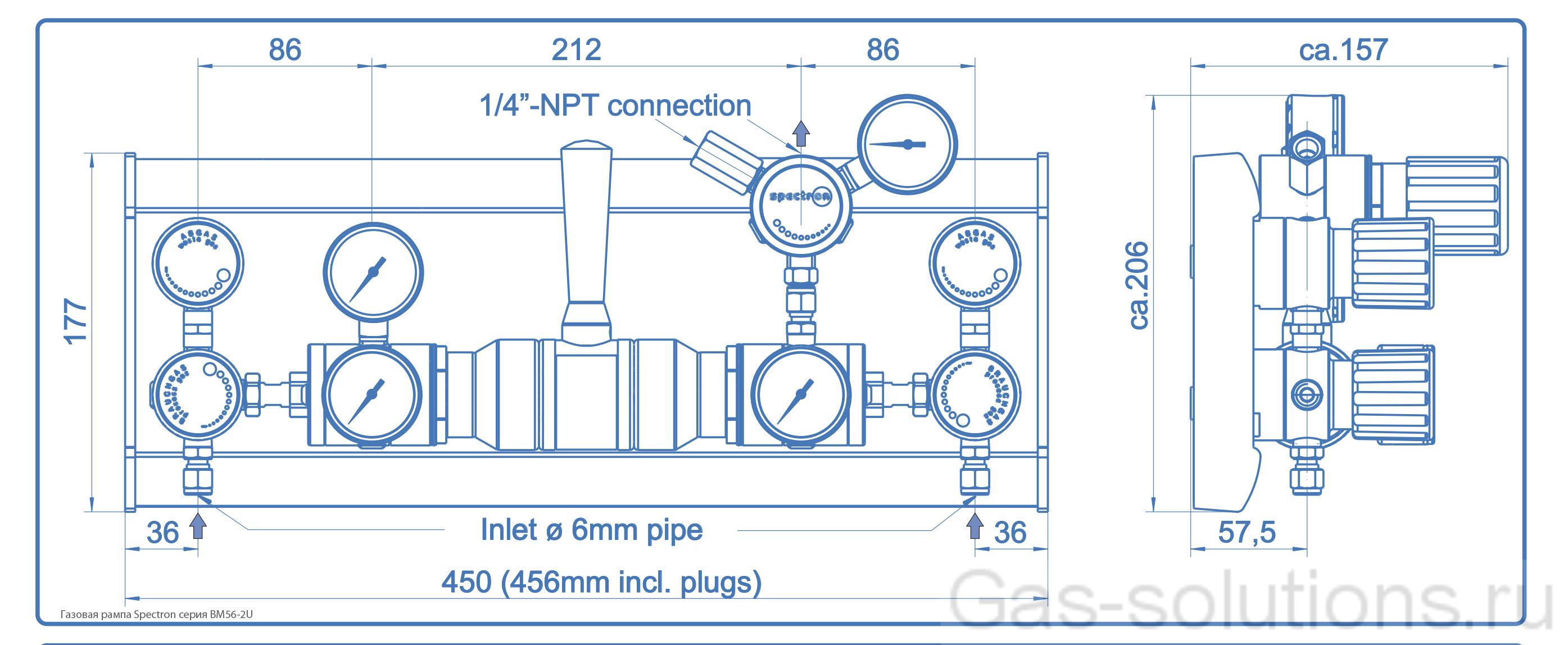 Газовая рампа Spectron серия BM56-2U_чертеж
