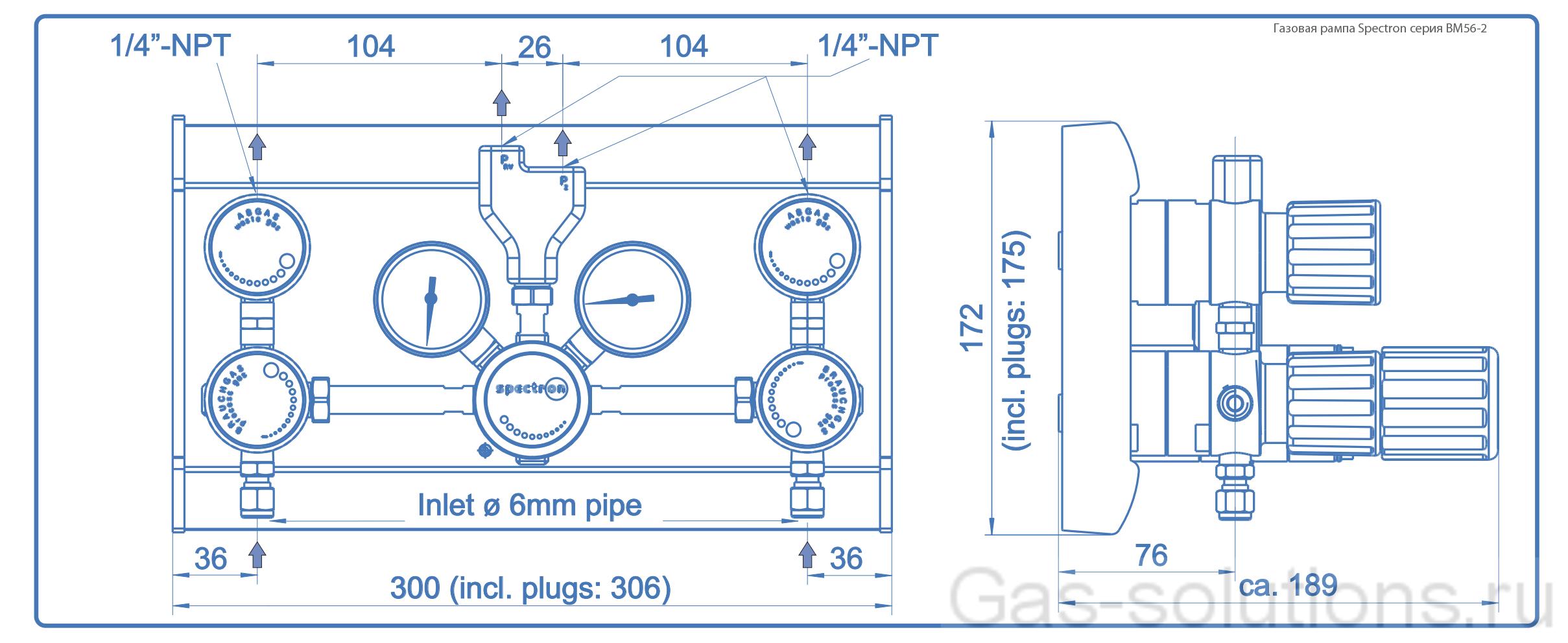Газовая рампа Spectron серия BM56-2_чертеж