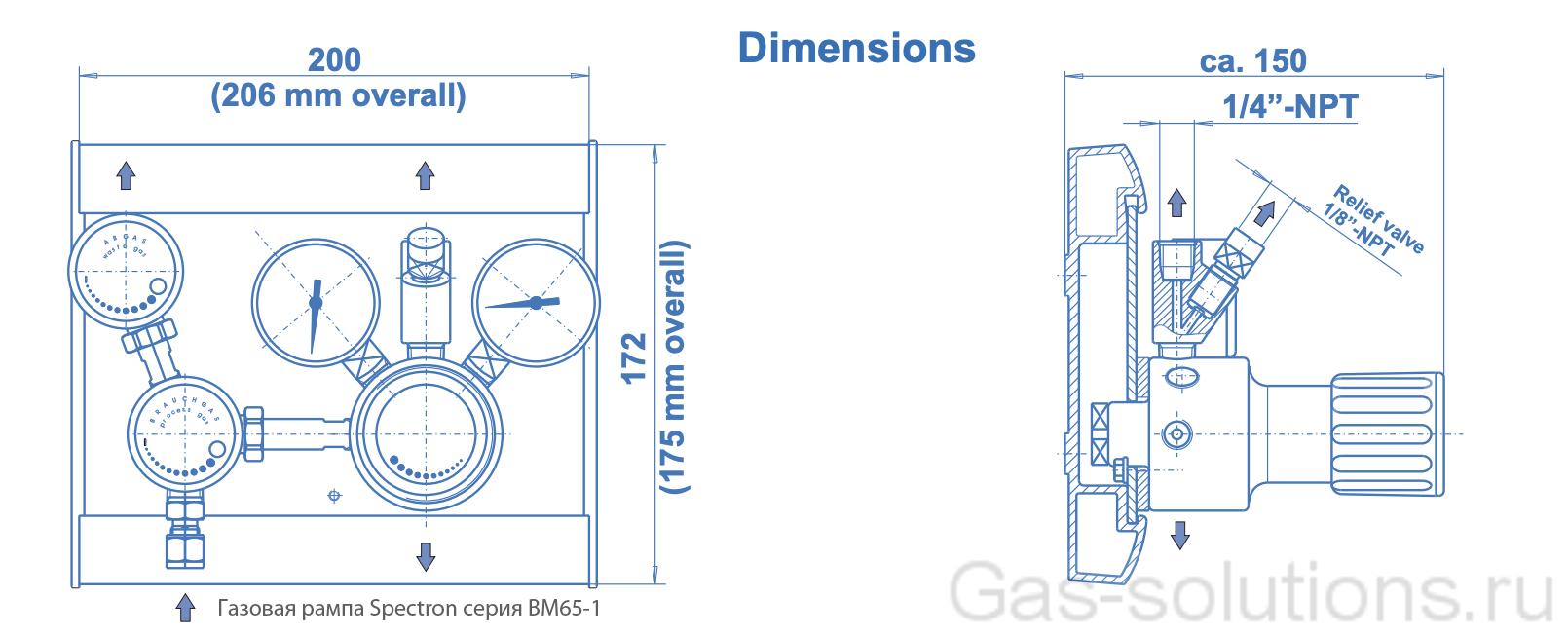 Газовая рампа Spectron серия BM65-1_чертеж