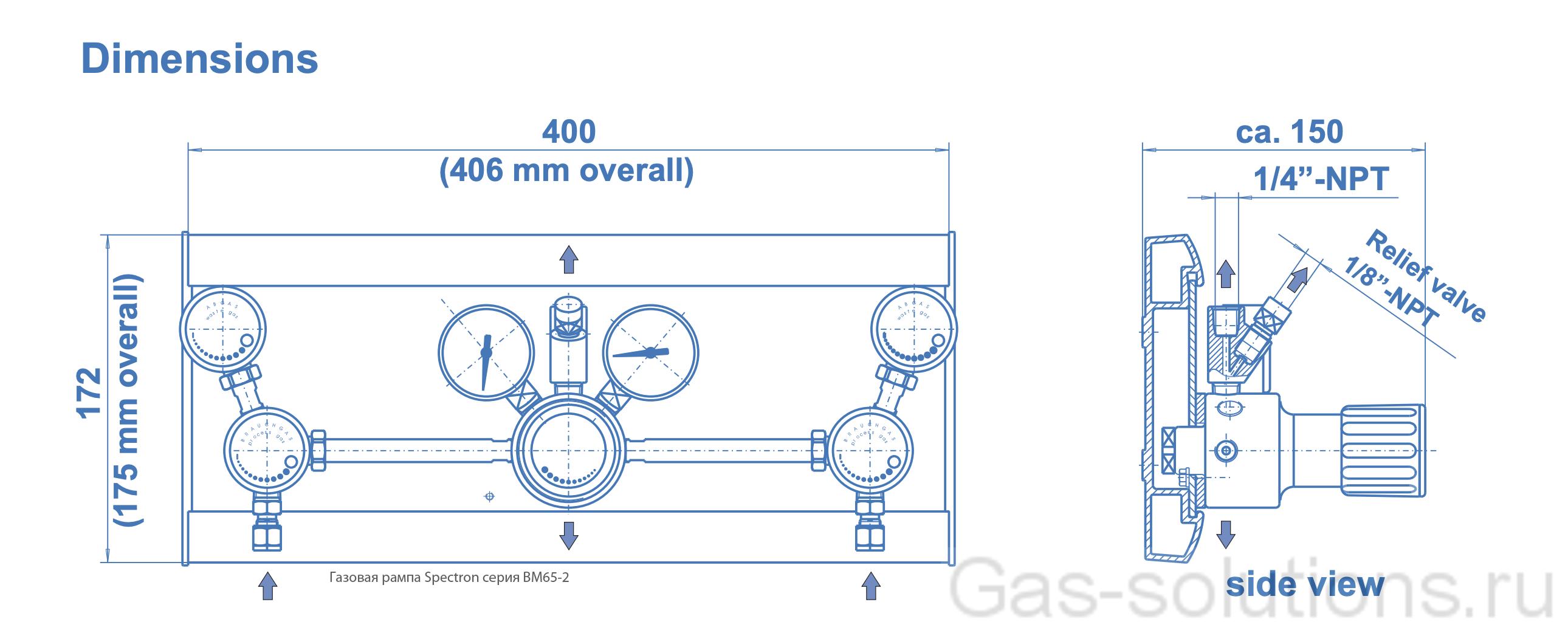 Газовая рампа Spectron серия BM65-2_чертеж