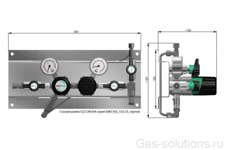 Газовая рампа GCE DRUVA серия SMD 502_532-25_чертеж