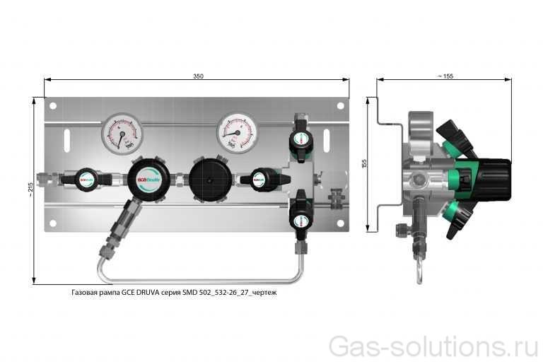 Газовая рампа GCE DRUVA серия SMD 502_532-26_27_чертеж