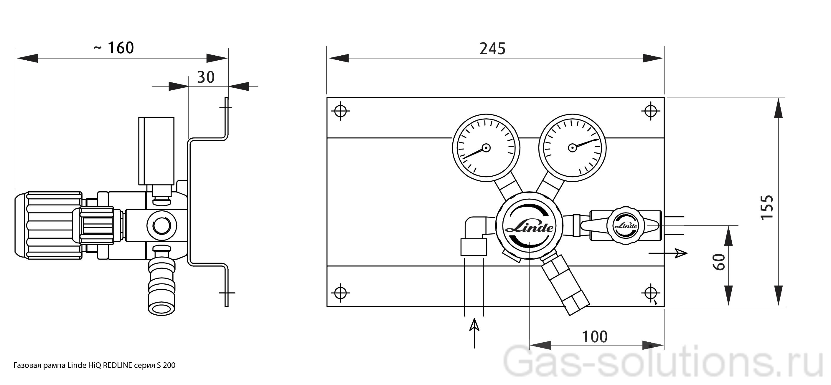 Газовая рампа Linde HiQ REDLINE серия S 200_чертеж