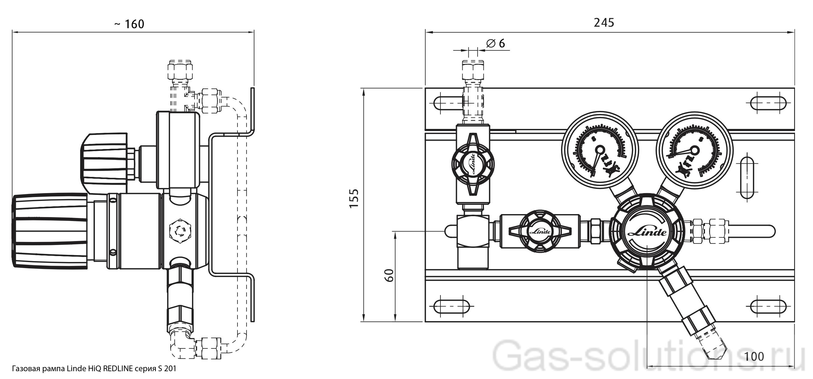 Газовая рампа Linde HiQ REDLINE серия S 201_чертеж