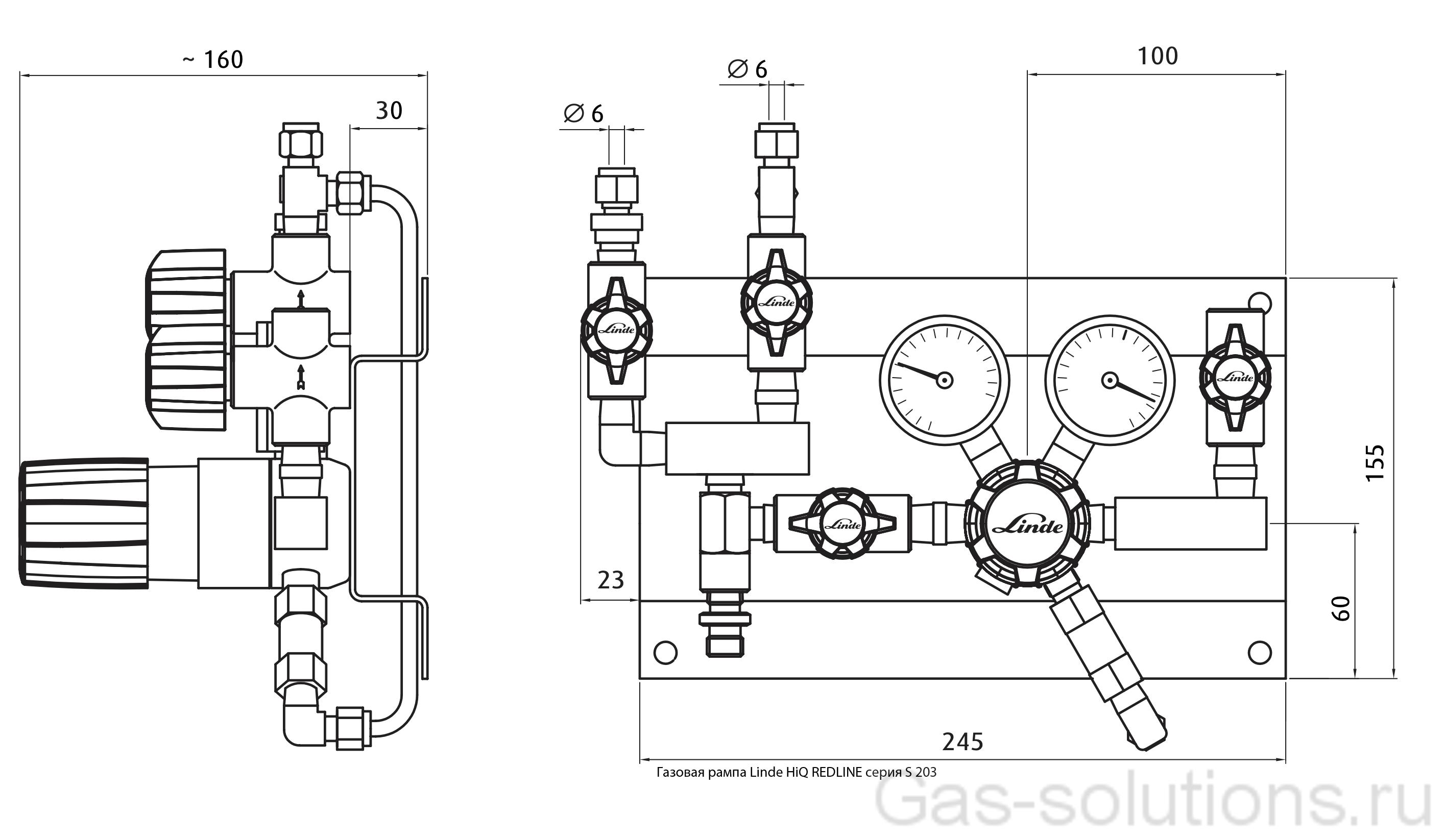 Газовая рампа Linde HiQ REDLINE серия S 203_чертеж