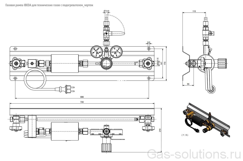 Газовая рампа IBEDA для технических газов с подогревателем_чертеж