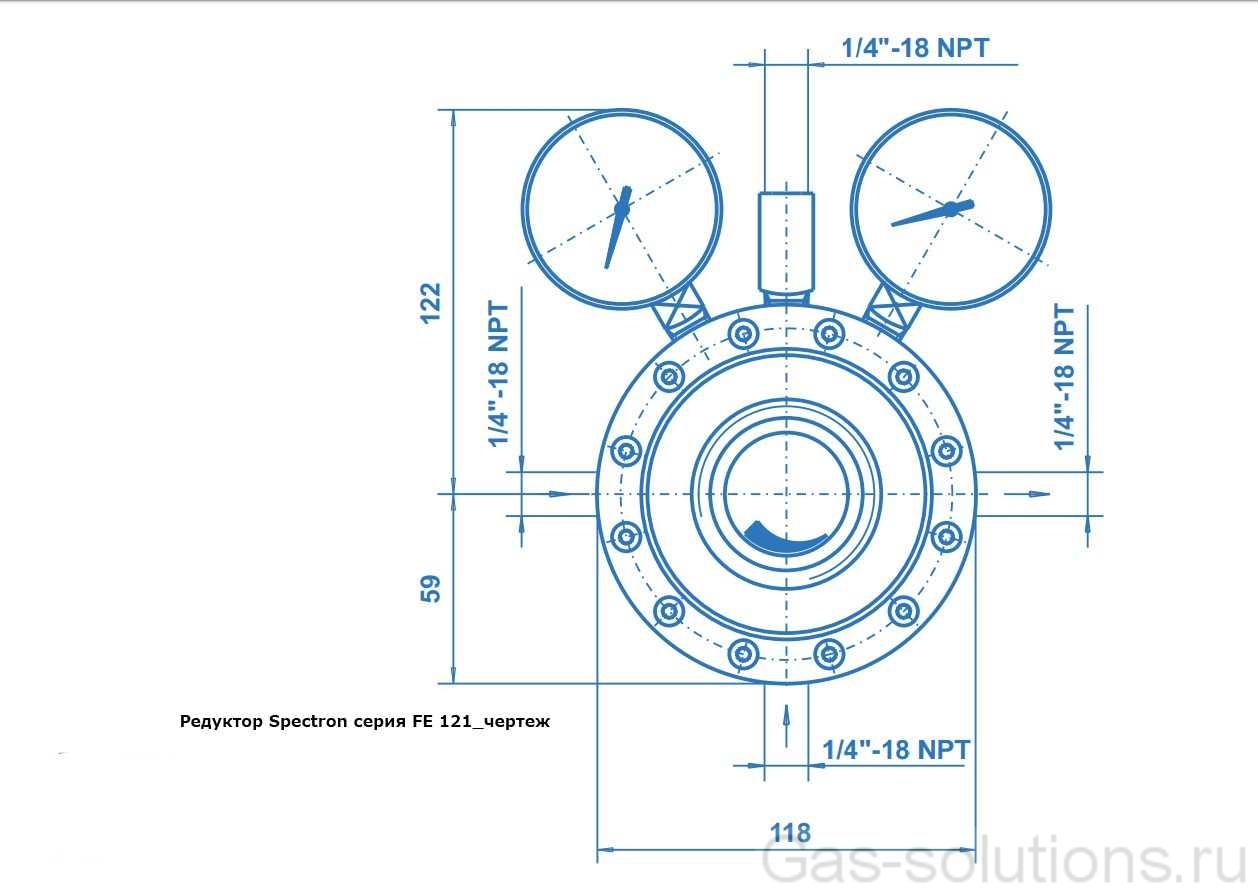 Редуктор Spectron серия FE 121_чертеж