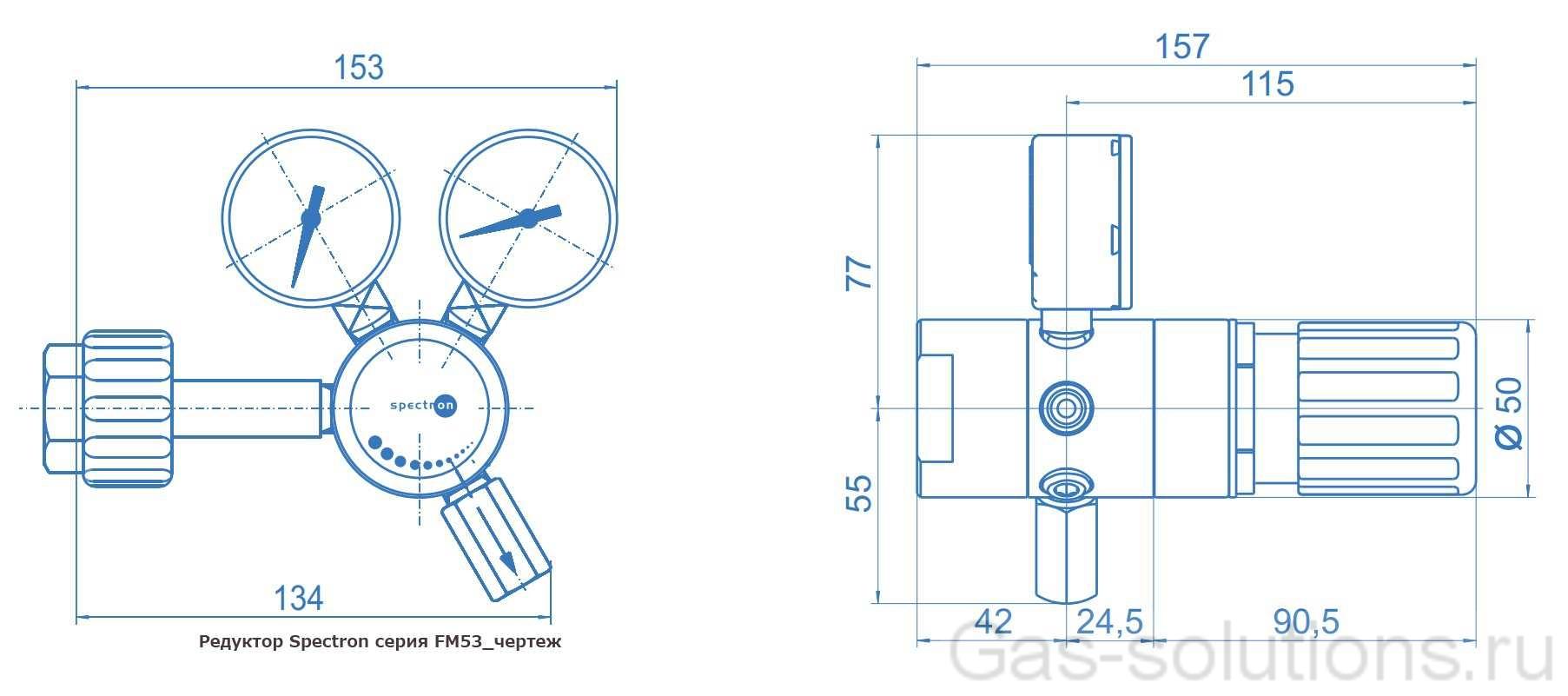 Редуктор Spectron серия FM53_чертеж