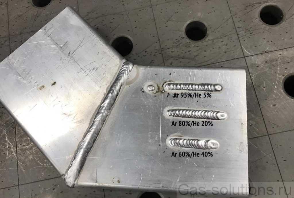 Сварочные швы при различном процентном соотношении аргона и гелия