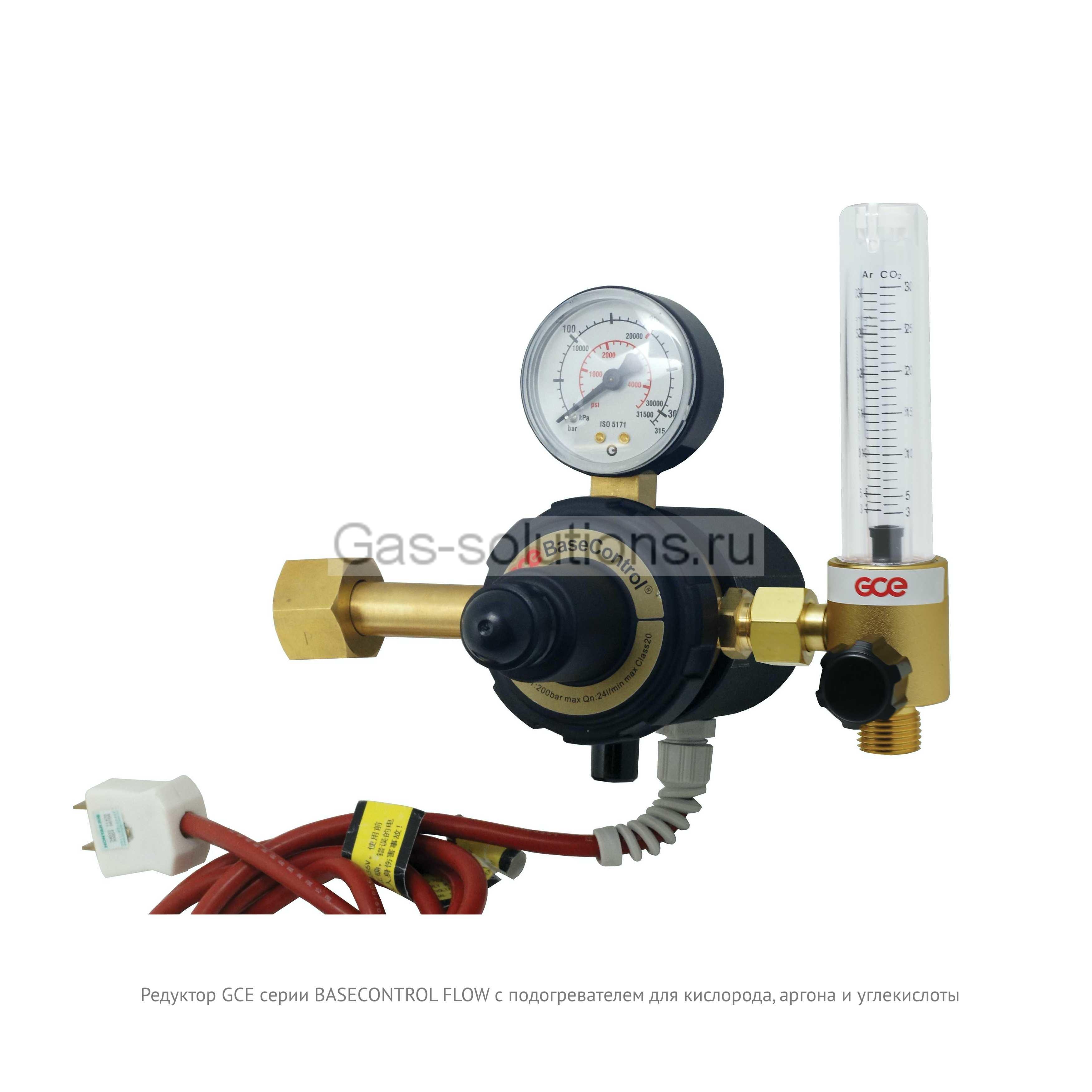 Редуктор GCE серии BASECONTROL FLOW с подогревателем для кислорода, аргона и углекислоты