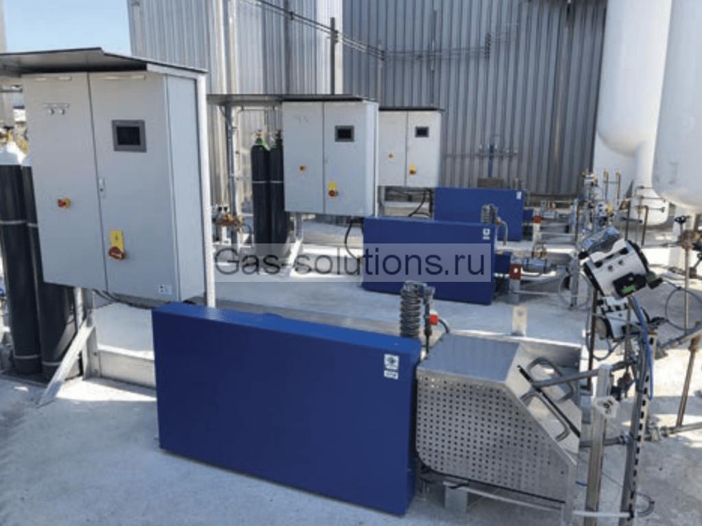 Фото площадки криогенных насосов в составе автоматической наполнительной станции