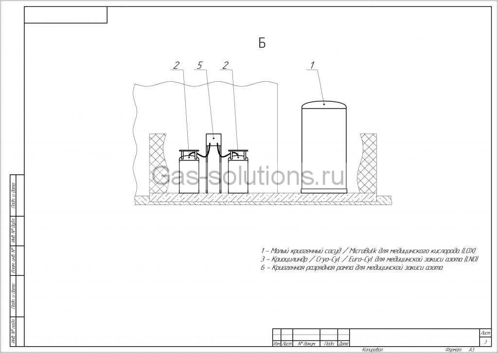 Комплекс газоснабжения медицинских учреждений_Вид слева