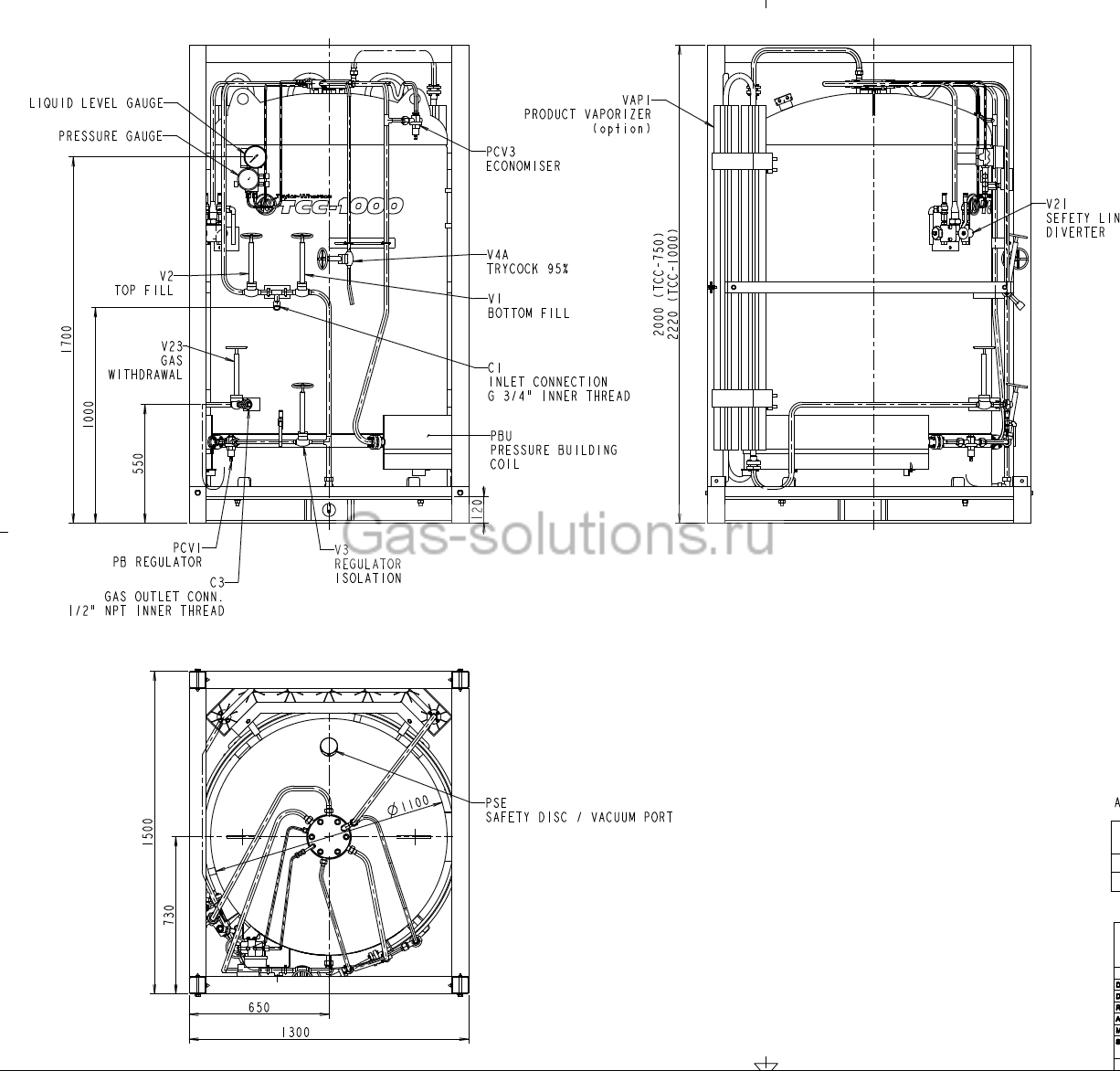 Криогенная ёмкость TAYLOR-WHARTON серии MBC1000_схема