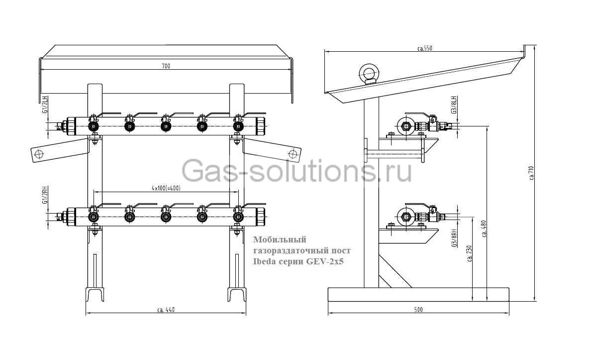 Мобильный газораздаточный пост Ibeda серии GEV-2х5-чертеж