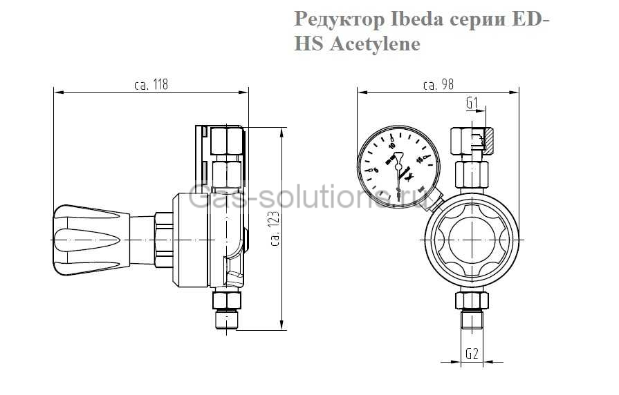 Редуктор Ibeda серии ED-HS Acetylene- чертеж