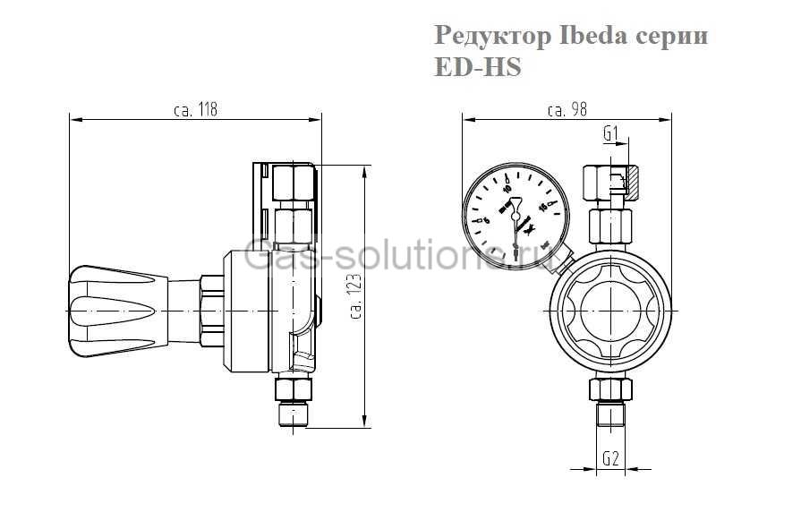 Редуктор Ibeda серии ED-HS - чертеж