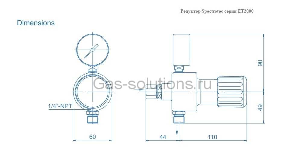 Редуктор Spectrotec серии ET2000 - чертеж
