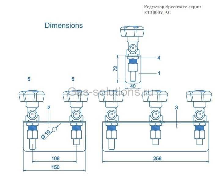 Редуктор Spectrotec серии ET2000V AC - чертеж