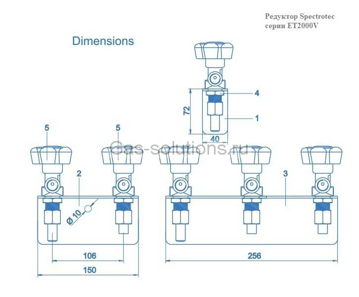 Редуктор Spectrotec серии ET2000V - чертеж