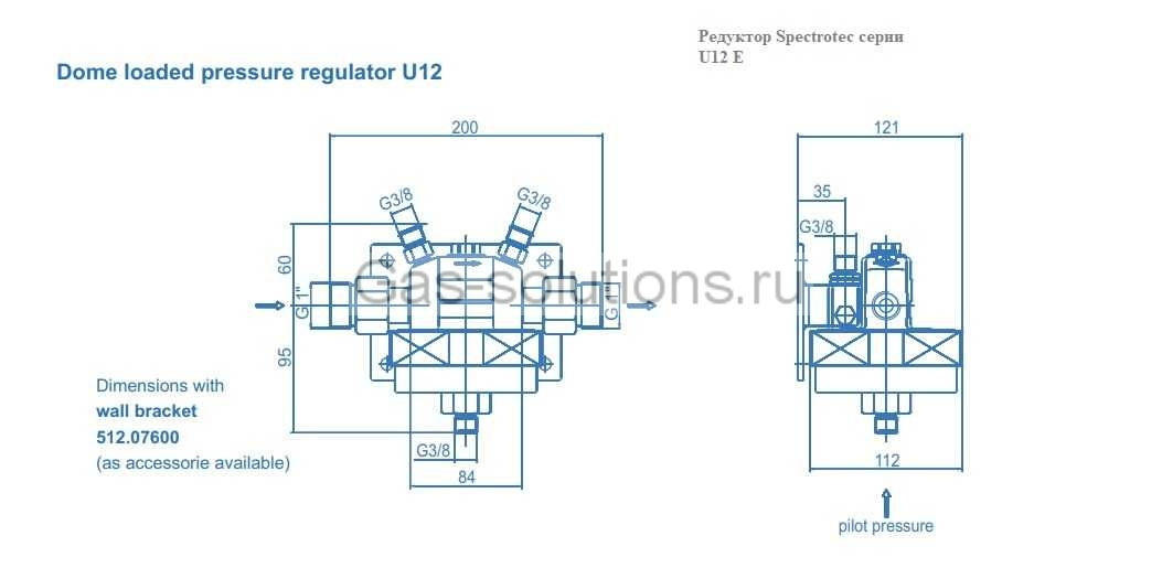 Редуктор Spectrotec серии U12 E - чертеж