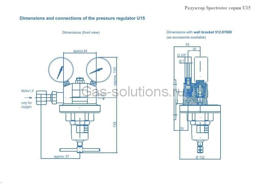 Редуктор Spectrotec серии U15 - чертеж