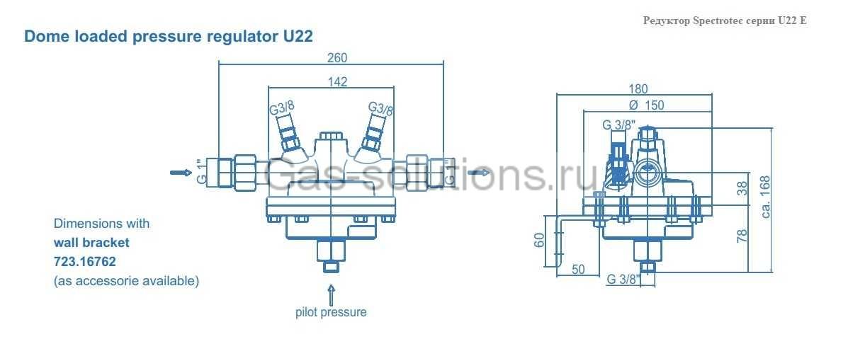 Редуктор Spectrotec серии U22 E - чертеж