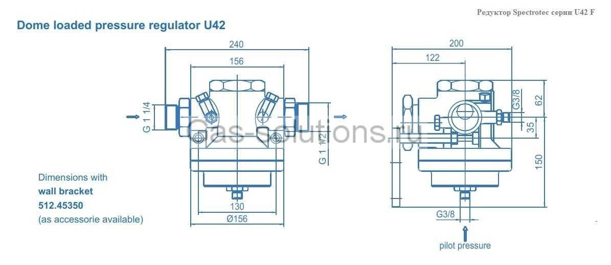 Редуктор Spectrotec серии U42 F - чертеж