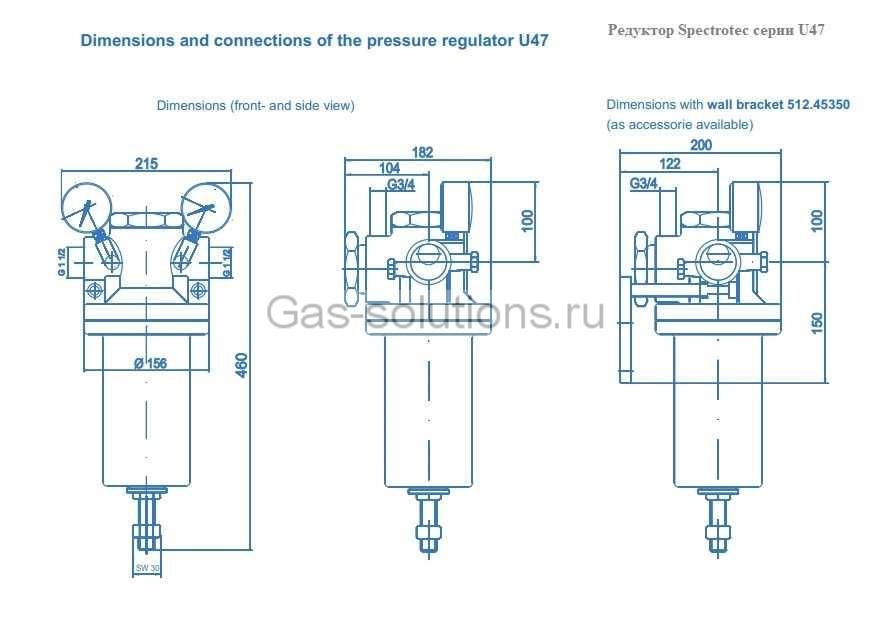 Редуктор Spectrotec серии U47 - чертеж