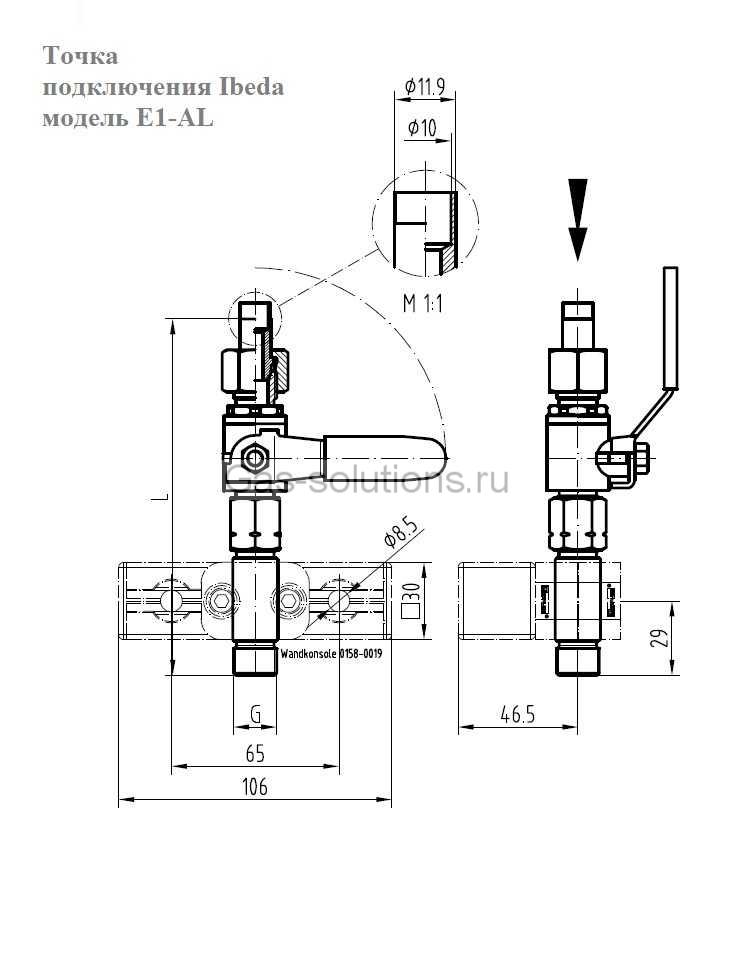 Точка подключения Ibeda модель E1-AL-чертеж