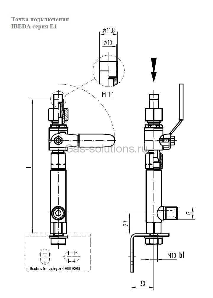 Точка подключения Ibeda модель Е1-чертеж